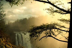 Snoqualmie Falls Waterfall at Sunrise